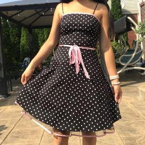 Dresses & Skirts - Vintage Pink and Black Polka Dot Dress
